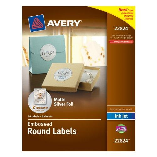 "Avery Promotional Label - 2"" Diameter - 96 / Pack - Circle - 12/sheet - Inkjet - Silver (AVE22824)"