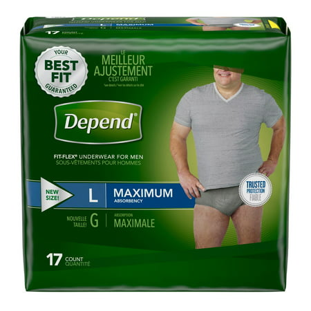 Depend Fit-Flex Underwear for Men Large Maximum Absorbency - (Depend Undergarments)