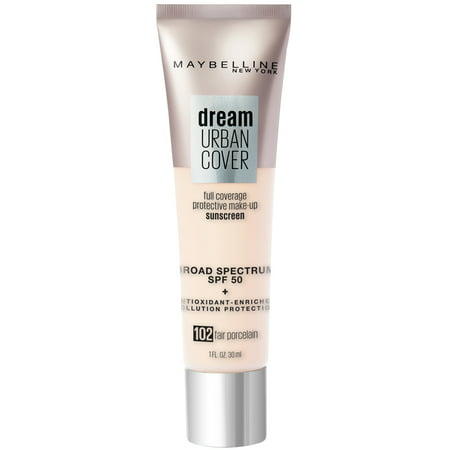 Maybelline Dream Urban Cover Flawless Coverage Foundation Makeup, SPF 50, Fair Porcelain, 1 fl. (50's Style Makeup)