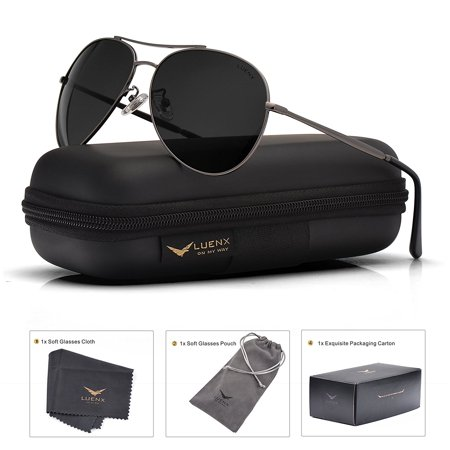 450314a70a Aviator Sunglasses Polarized Men with Accessories Metal Frame UV400 60MM
