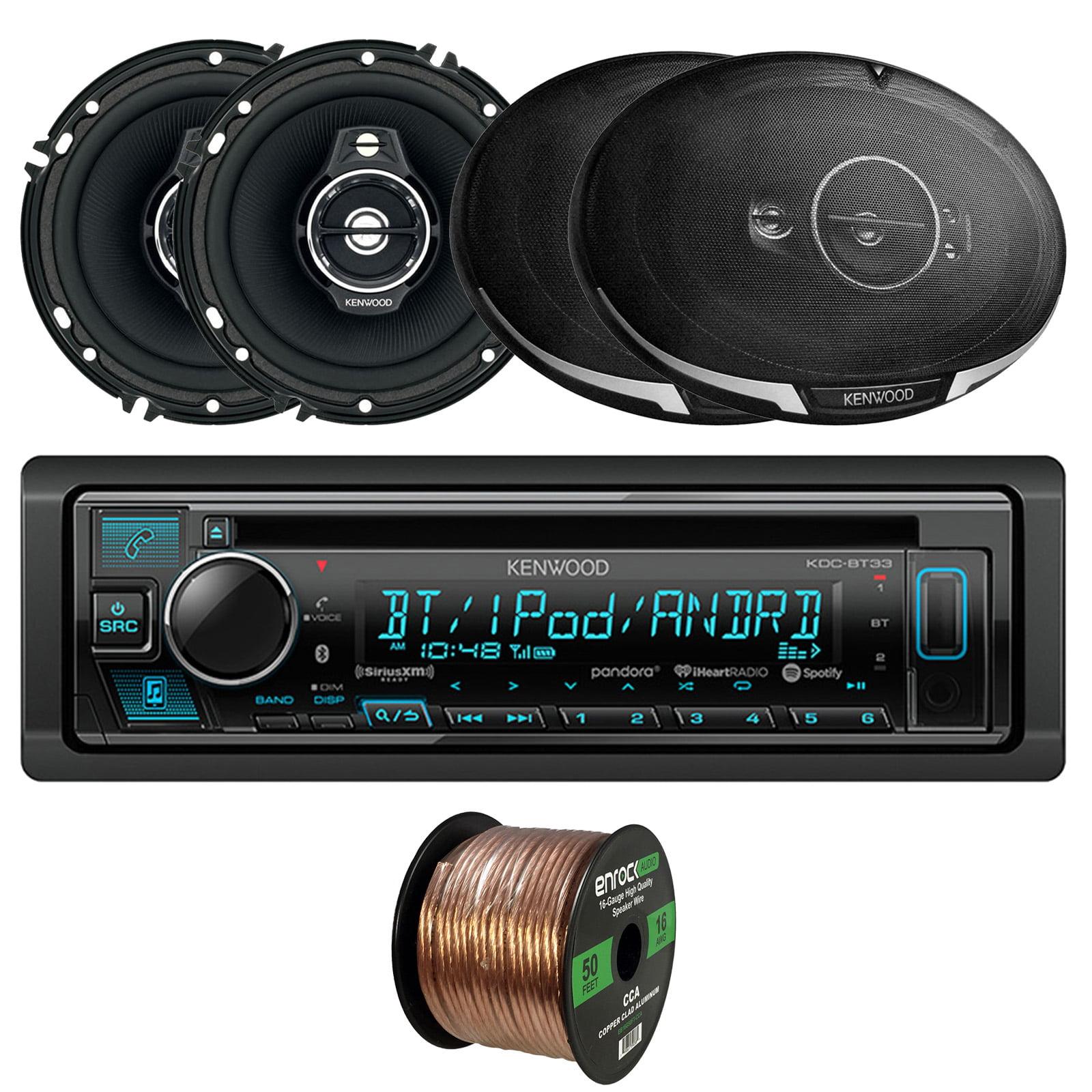 "Kenwood KDC-BT33 Single-DIN In-Dash CD/Bluetooth Receiver, 2 x Kenwood KFC-1695PS Performance Series 6.5"" 3-Way Speakers, 2 x Kenwood 6x9"" 5-Way Speakers, 16-Gauge Speaker Wire"