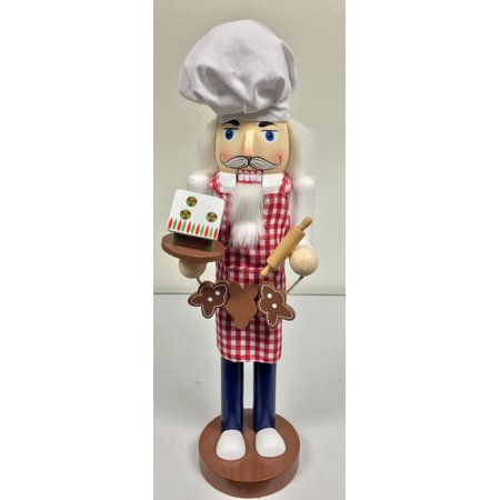 Baker with Cookies and Gingerbread House Wooden Christmas Nutcracker 14 Inch