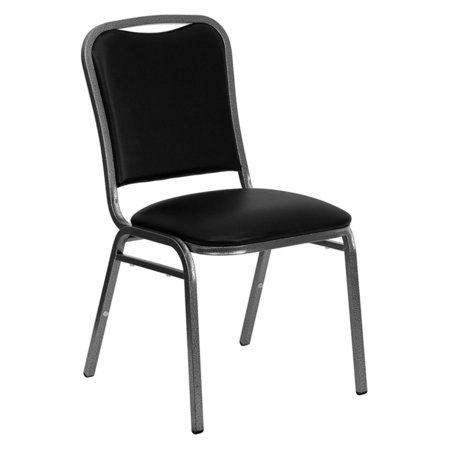 Vinyl Stacking Chair - Flash Furniture HERCULES Series Stacking Banquet Chair with Black Vinyl and 1.5'' Thick Seat, Silver Vein Frame