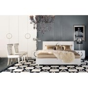 A&X Ovidius - Modern White Crocodile Queen Lacquer Bed-Color:White,Size:Queen