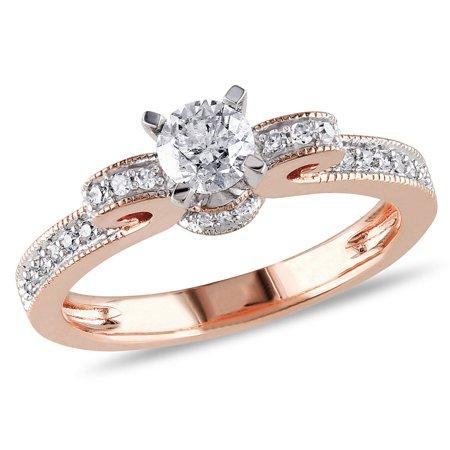 1/2 Carat (ctw G-H, I2-I3) Diamond Engagement Ring 14K Rose Pink Gold - image 4 de 4