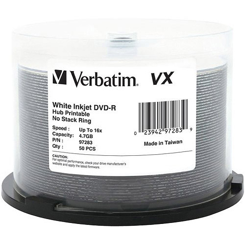 Verbatim 4.7GB up to 16x VX Hub Printable Recordable Disc DVD-R, 50-Disc Spindle