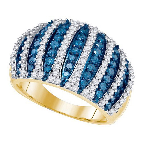 10K Yellow Gold 1.61ctw Glamorous Blue Pave Diamond Decorated Fashion Band Ring