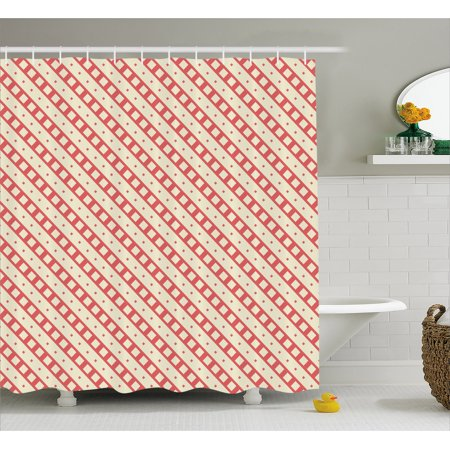 Geometric Shower Curtain Checked Rhombus Classic Diamond Line Pattern Crosswise Tile Design Artwork Fabric