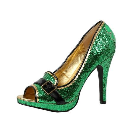 Womens Green High Heels Glitter Pumps St Pattys Day Leprechaun Shoe 4 Inch Heel (Green High Heels Shoes)