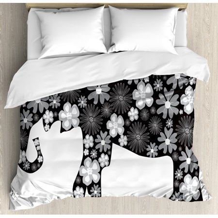 Animal Duvet Cover Set, Floral Elephant Pattern with Flower Petals on the Body Tropical Boho Style Zoo Image, Decorative Bedding Set with Pillow Shams, Grey White, by Ambesonne (Tropical Floral)