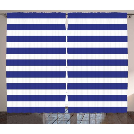 Striped Curtains 2 Panels Set, Nautical Marine Style Navy Blue and White Sailor Theme Geometric Pattern Art, Window Drapes for Living Room Bedroom, 108W X 90L Inches, White Navy Blue, by Ambesonne ()