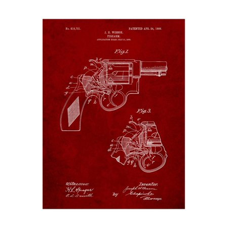 Smith and Wesson Revolver Pistol Print Wall Art By Cole (Pistol Grips For Smith And Wesson Revolvers)