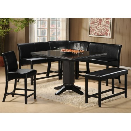 Homelegance Papario 6 Piece Corner Counter Height Dining Set Black Walmart Com Walmart Com