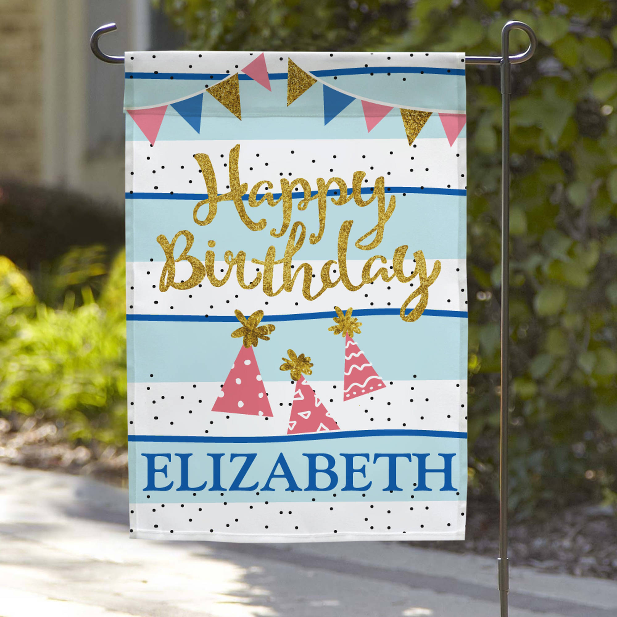"Personalized Happy Birthday Name Garden Flag, 18"" x 12"""
