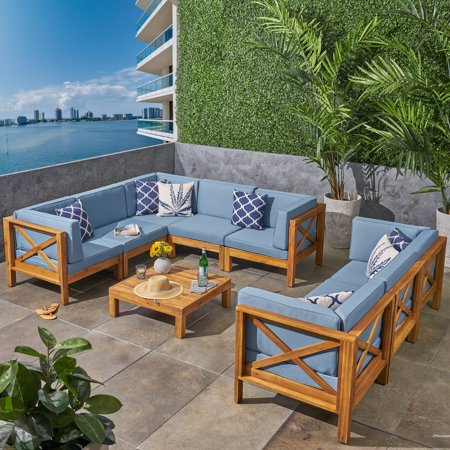 Elisha Outdoor 9 Piece Acacia Wood Sectional Sofa Set and Coffee Table with Cushions, Teak, Blue ()