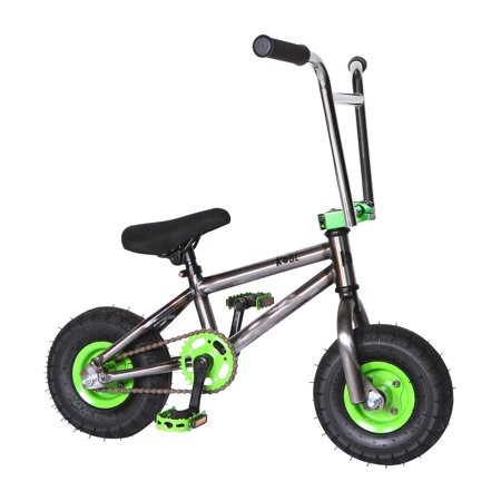 "Kobe ""Rusty Rat Rod"" Mini BMX - Off-Road to Skate Park, Freestyle, Trick, Stunt Bicycle 10"" Wheels for Adults and Kids - Green - image 9 de 12"