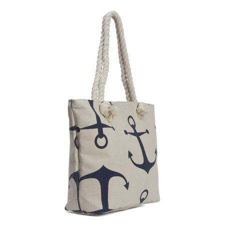 Anchors Wide Beach Tote Bag - White - image 1 de 2