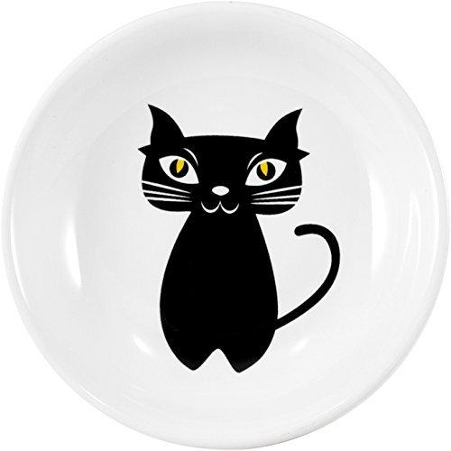 Set of 2 Omniware Cat Noir Round Stoneware Tea Caddy and Infuser Holder