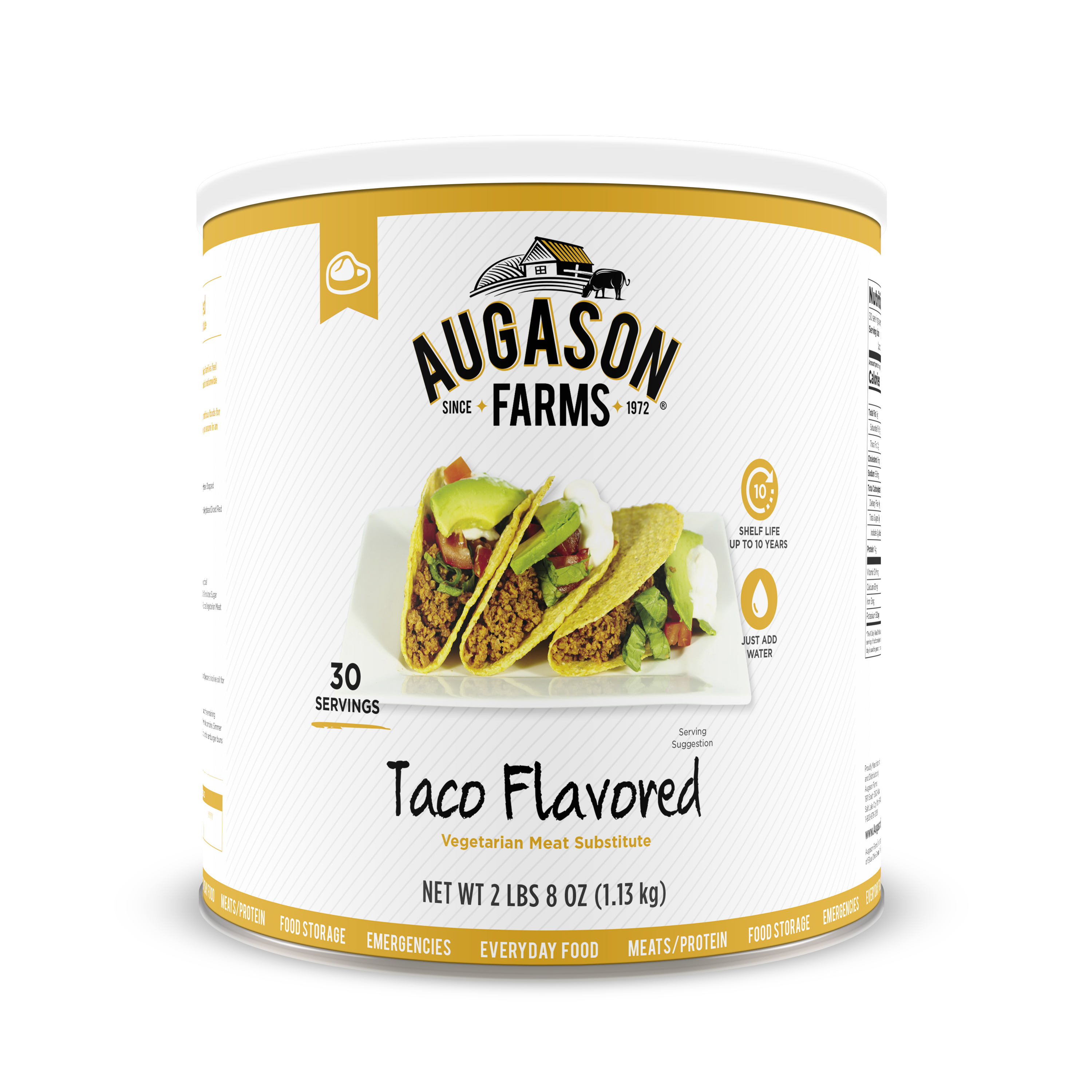 Augason Farms Taco Flavored Vegetarian Meat Substitute 2 lbs 8 oz No. 10 Can
