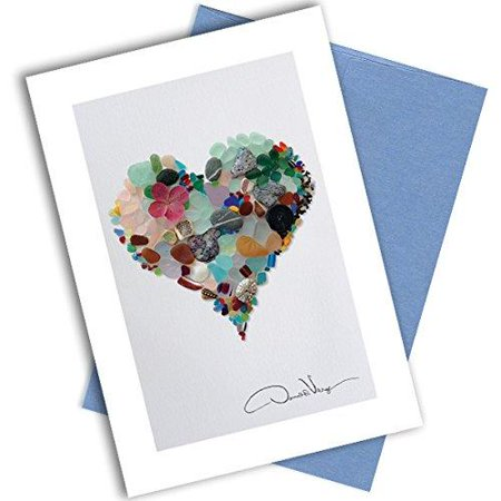 Single Sea Glass Heart Note Card. 3x5 Blank Card with Classy Envelope. Best Birthday Cards, Thank You Notes & Invitations. Unique Christmas, Mother's Day & Valentines Gifts for Women,