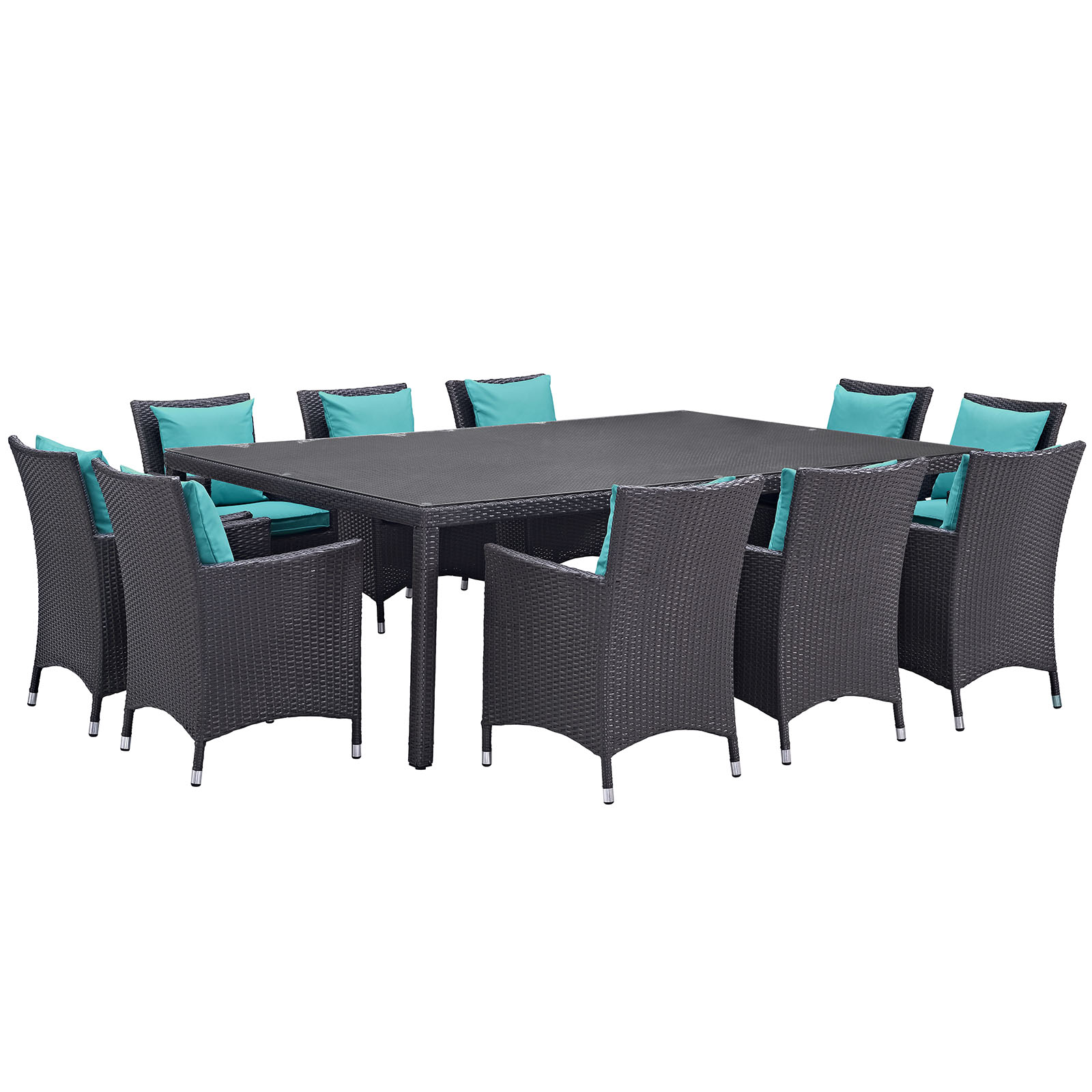 Modern Contemporary Urban Design Outdoor Patio Balcony Eleven PCS Dining Chairs and Table Set, Blue, Rattan