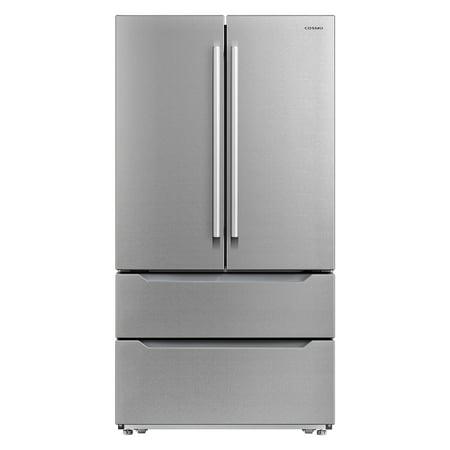 Cosmo 22.5 cu. ft. 4-Door French Door Refrigerator with Pull Handle in Stainless Steel, Counter Depth