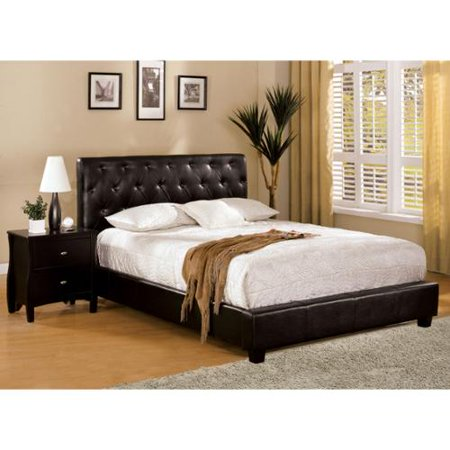 Furniture of America Pendezi Espresso 3-Piece Bed, Nightstand and 12-inch Mattress Set Full Bed with Mattress and Nightstand