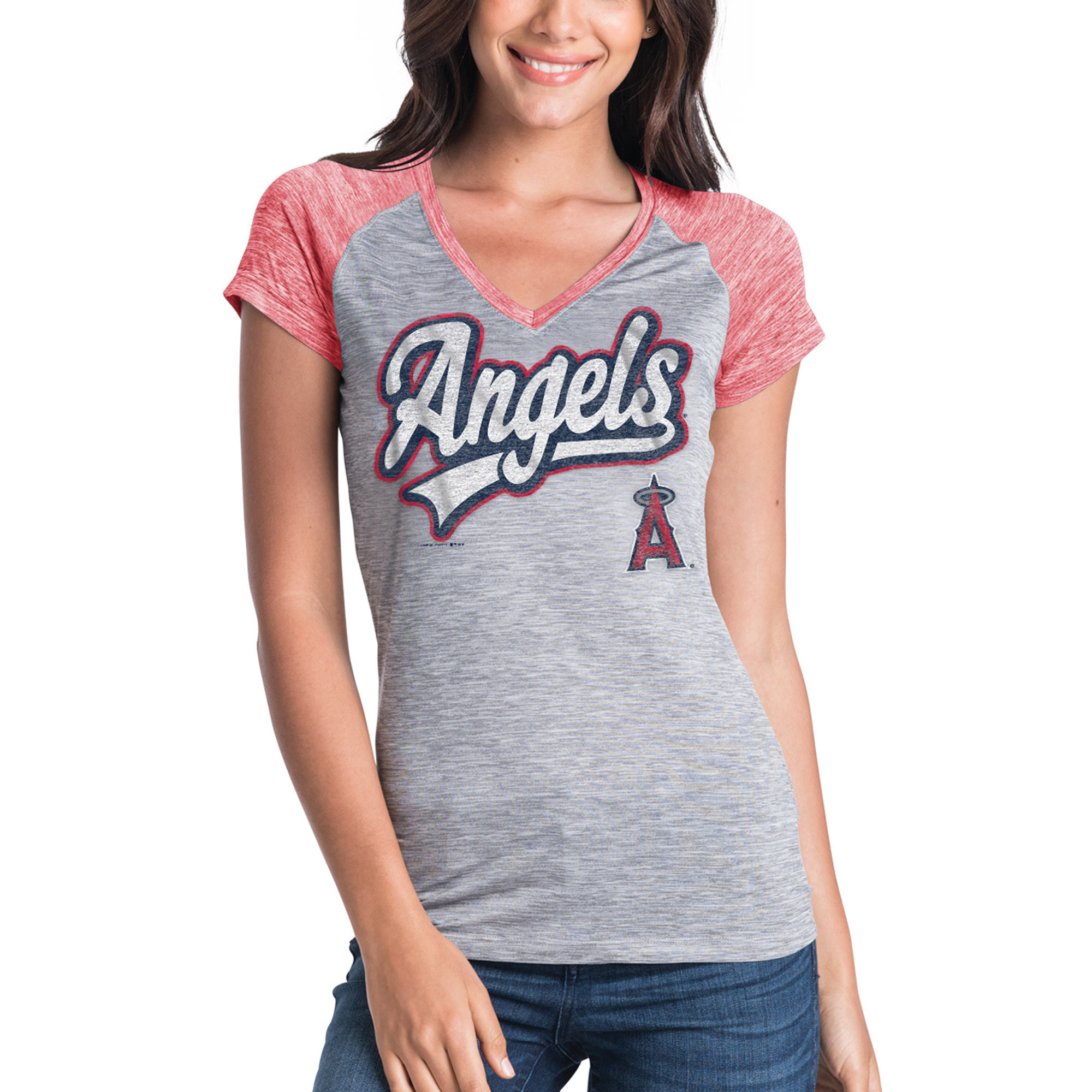 Women's New Era Gray Los Angeles Angels Space Dye V-Neck T-Shirt