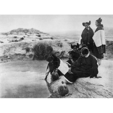 Curtis Hopi Girls 1921 NLoitering At The Spring Hopi Girls In Holiday Attire Photographed By Edward S Curtis In 1921 Rolled Canvas Art -  (24 x 36)