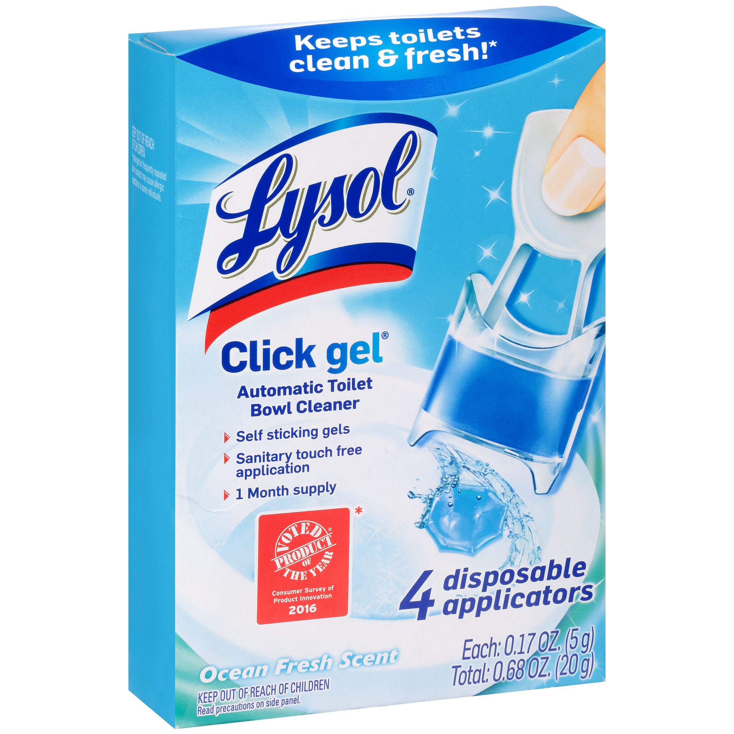 Lysol Automatic Toilet Bowl Cleaning Click Gel, Ocean Fresh Scent, 4 Count