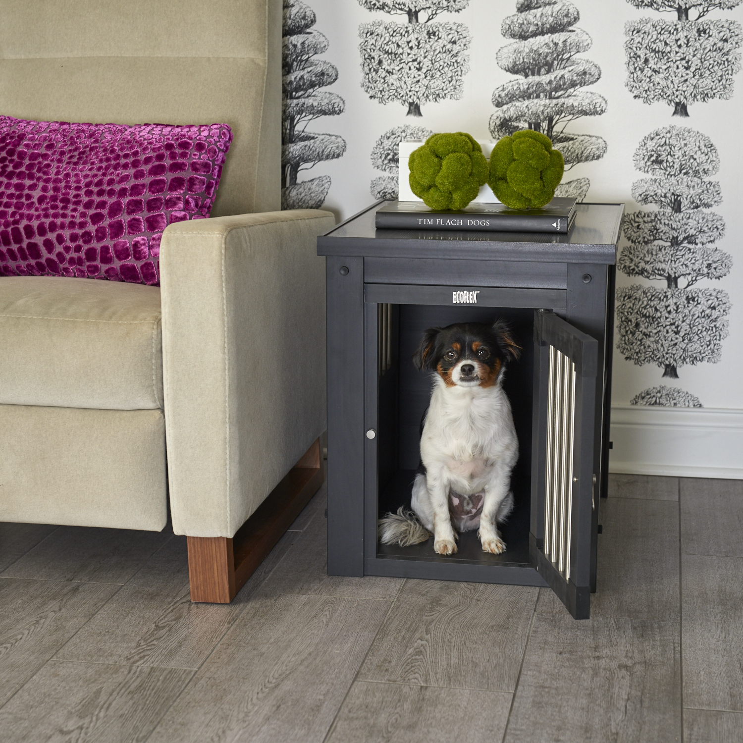 New Age Pet ecoFLEX Dog Crate End Table with Stainless Steel