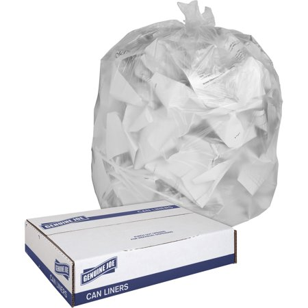 Genuine Joe, GJO01012, Clear Trash Can Liners, 250 / Box, Clear