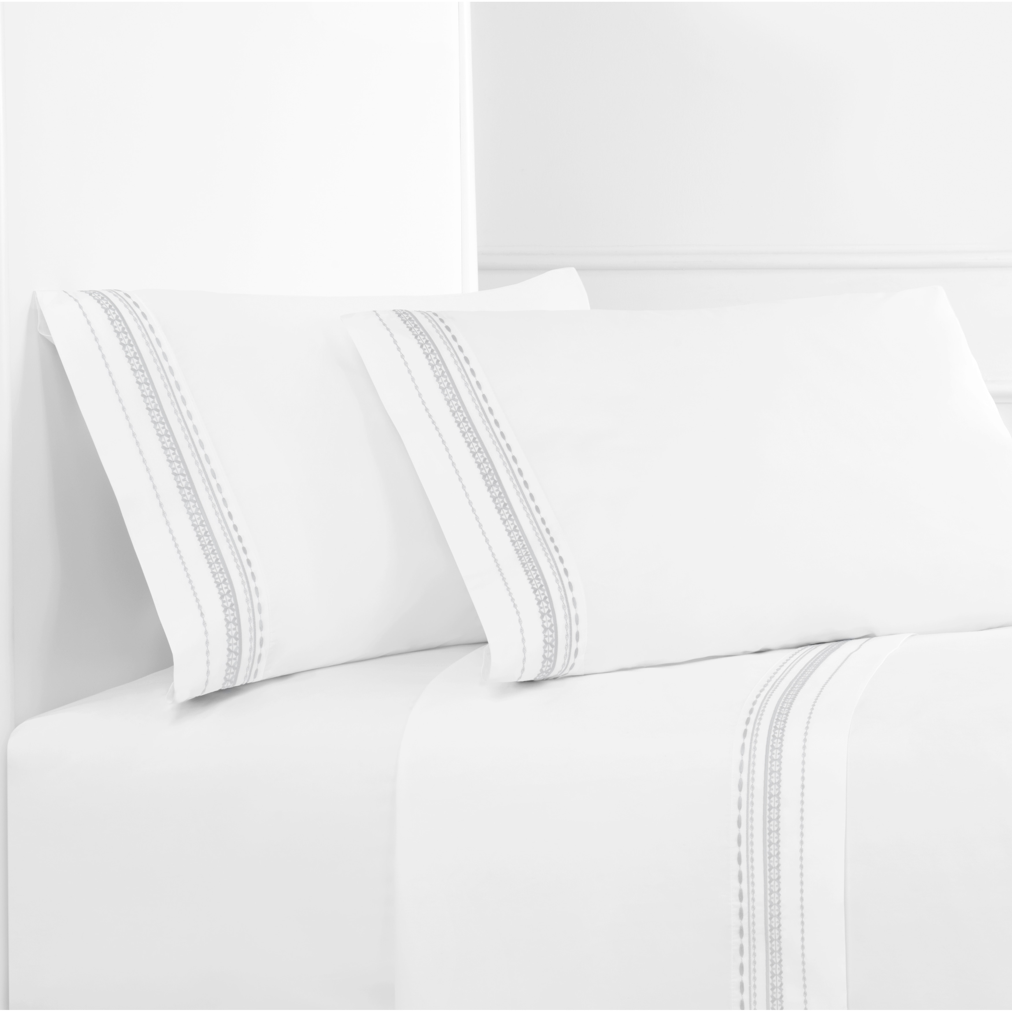 Melange Home Embroidered Crisp Percale