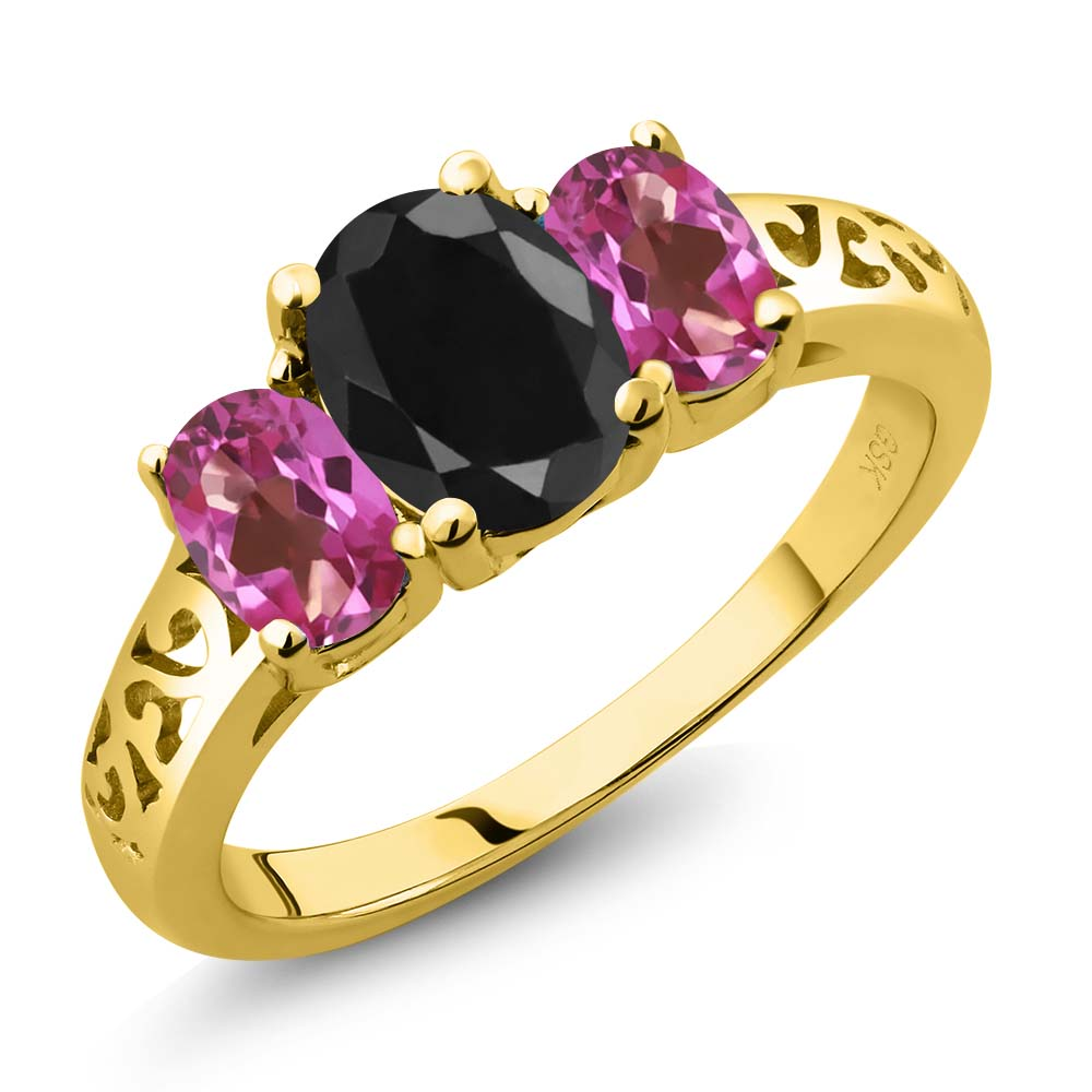 2.66 Ct Oval Black Sapphire Pink Mystic Topaz 14K Yellow Gold 3-Stone Ring