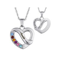 Family Jewelry Personalized Mother's Family Name & Birthstone Heart Necklace