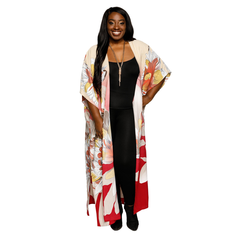 Xehar Women's Plus Size Casual Fashion Long Floral Kimono Cardigan ...