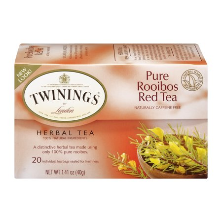 (4 Boxes) Twinings of London Pure Rooibos Red Herbal 20 ct Tea Bags 1.41 oz box ()