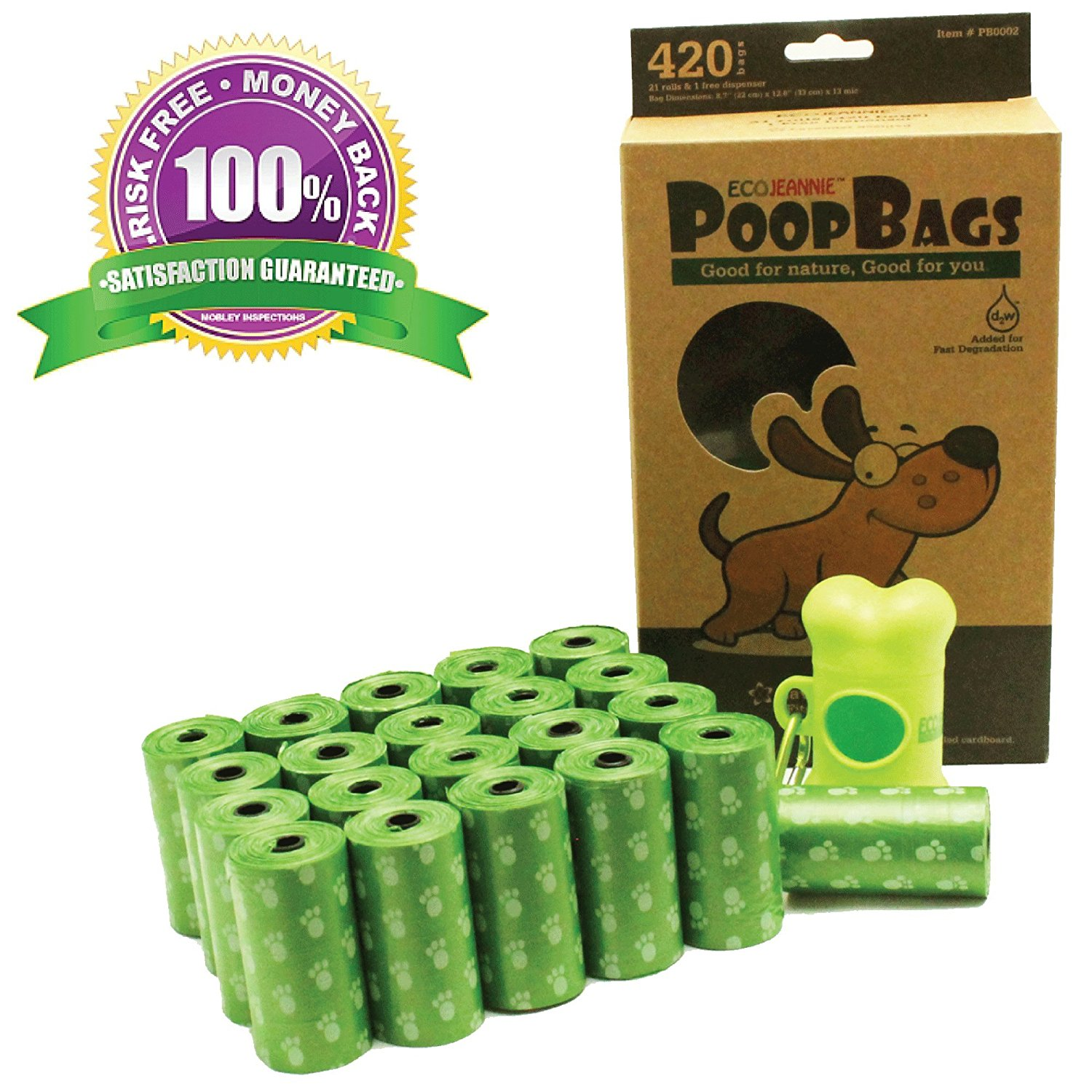 EcoJeannie® 420-Count Dog Poop Bags (21 Rolls) w/ Dispenser, Dog Waste Bags, Lavender Scented, 21 Refill Rolls + Dispenser with Stainlee Steel Carabiner Clip