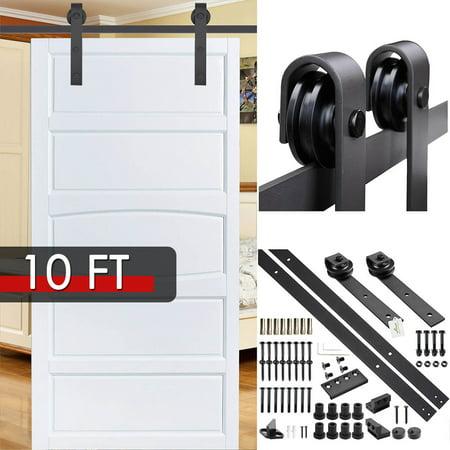 Door Wood Kit - Yescom 10' Carbon Steel Sliding Barn Wood Door Hardware Kit Rail Set Single Door