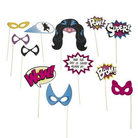 superhero girl photo booth stick props (Photo Booth Superhero Props)