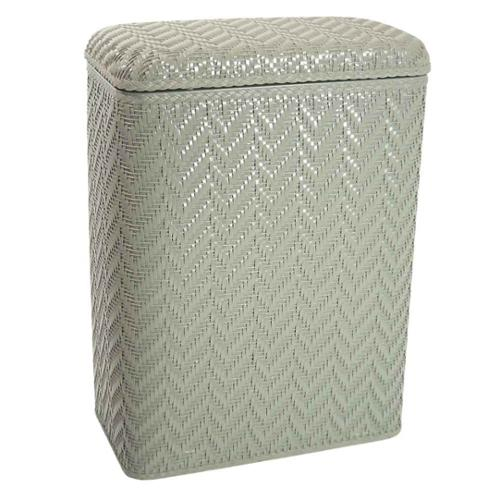 Hamper w Wicker Pattern Design in Sage Green Finish