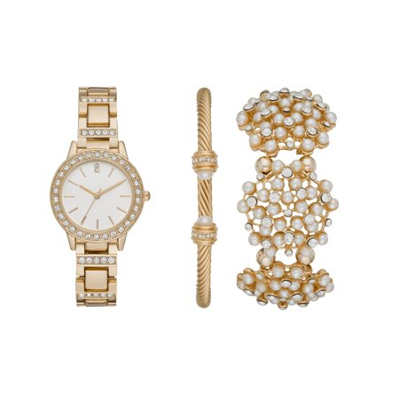 Women's Goldtone and Pearl Watch and Bracelets Gift Set