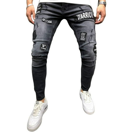 Calsunbaby Men's Ripped Skinny Distressed Destroyed Straight Fit Zipper Jeans M