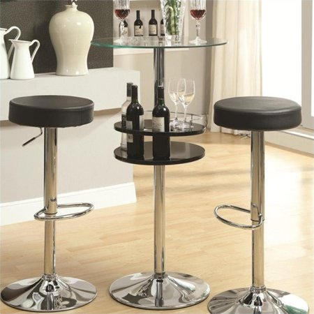 Bowery Hill Tempered Glass Top Bar Table with Storage in Black (Black Bar Table)