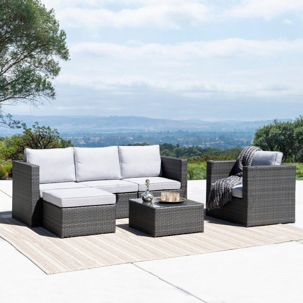 Corvus Trey Outdoor 6 Piece Wicker Sofa