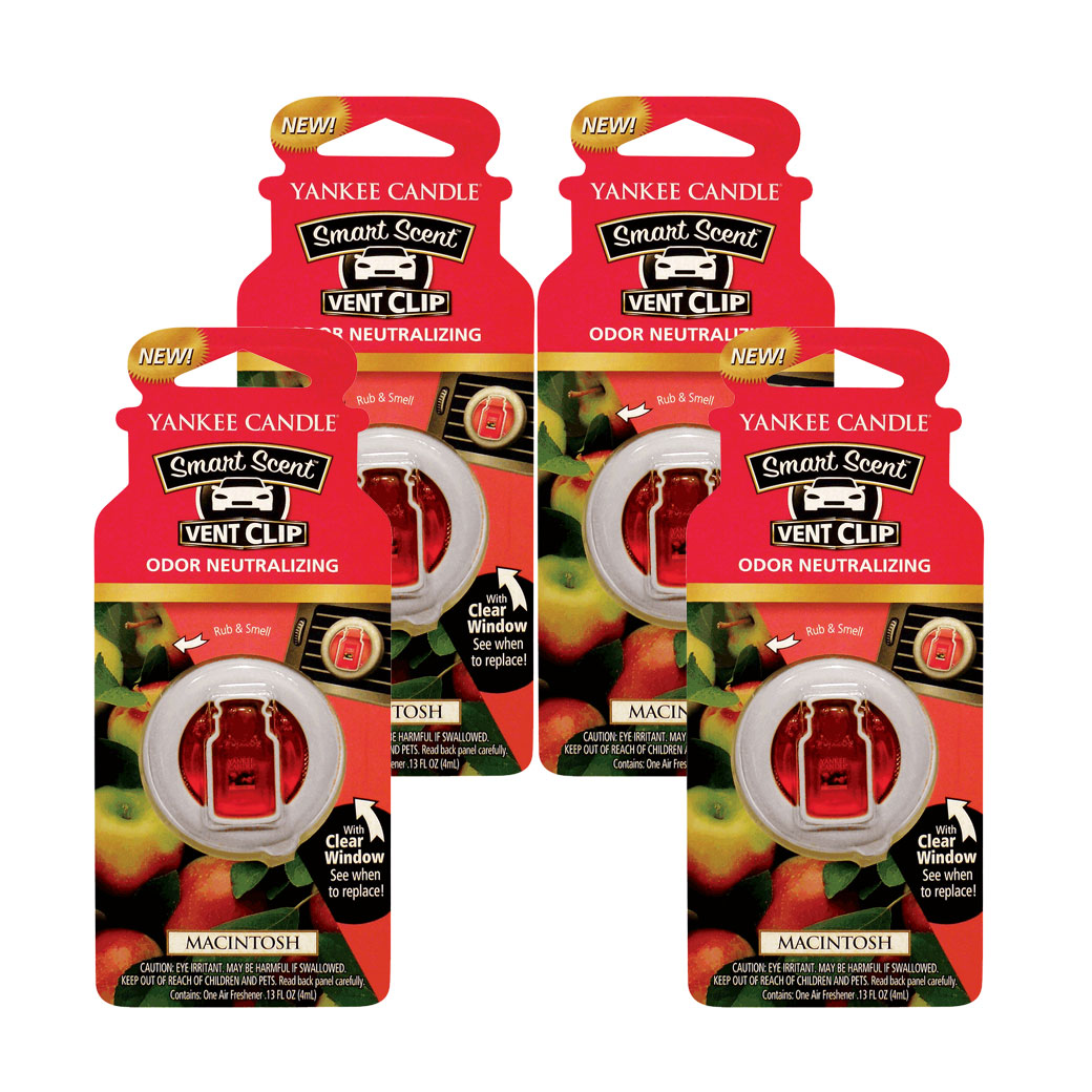 Yankee Candle Smart Scent Vent Clip Car & Home Air Freshener, Macintosh 4-PACK