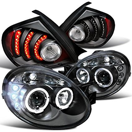 Dodge Neon Black Halo DRL Projector Headlights+LED Rear Tail Lamps