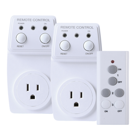 HDE Wireless Electrical Outlet with Remote Control [Power Saving] Receptical Switch Wall Plug Adapter (2 Pack)