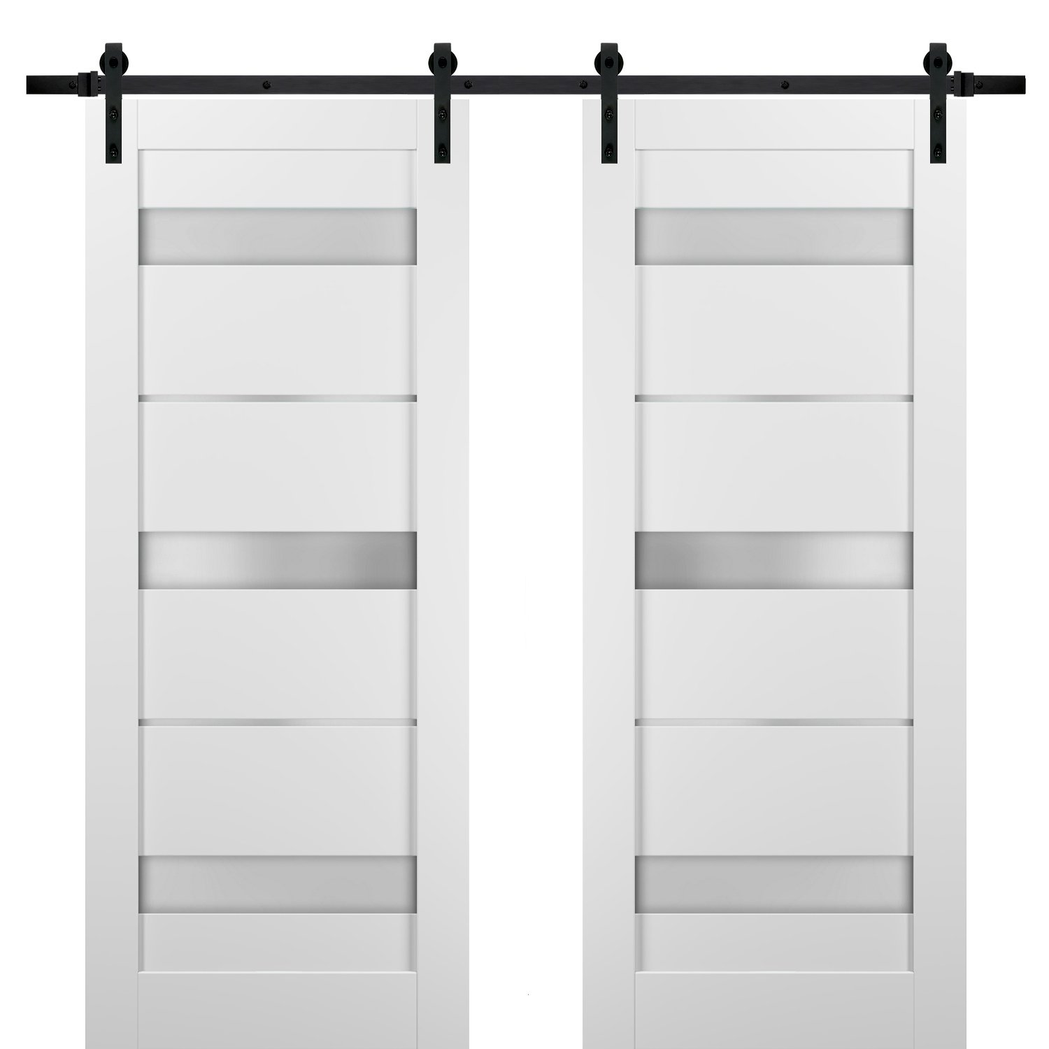 Sliding Double Barn Doors 56 X 80 With Hardware Quadro 4055 White Silk With Frosted Opaque Glass Top Mount 13ft Rail Sturdy Set Kitchen Lite Wooden Solid Panel Interior