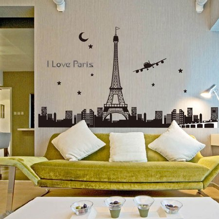 Trendbox PVC Removeable Decorative Art DIY Wall Decor Decal Sticker Paper For Home Bedroon Living Nursery Room Party - Glow: I Love Paris - Paris Room Decor Ideas